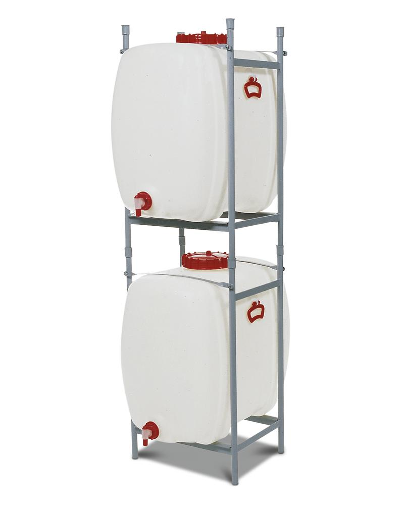 Stacking frame for space saving tank with 150 litre capacity