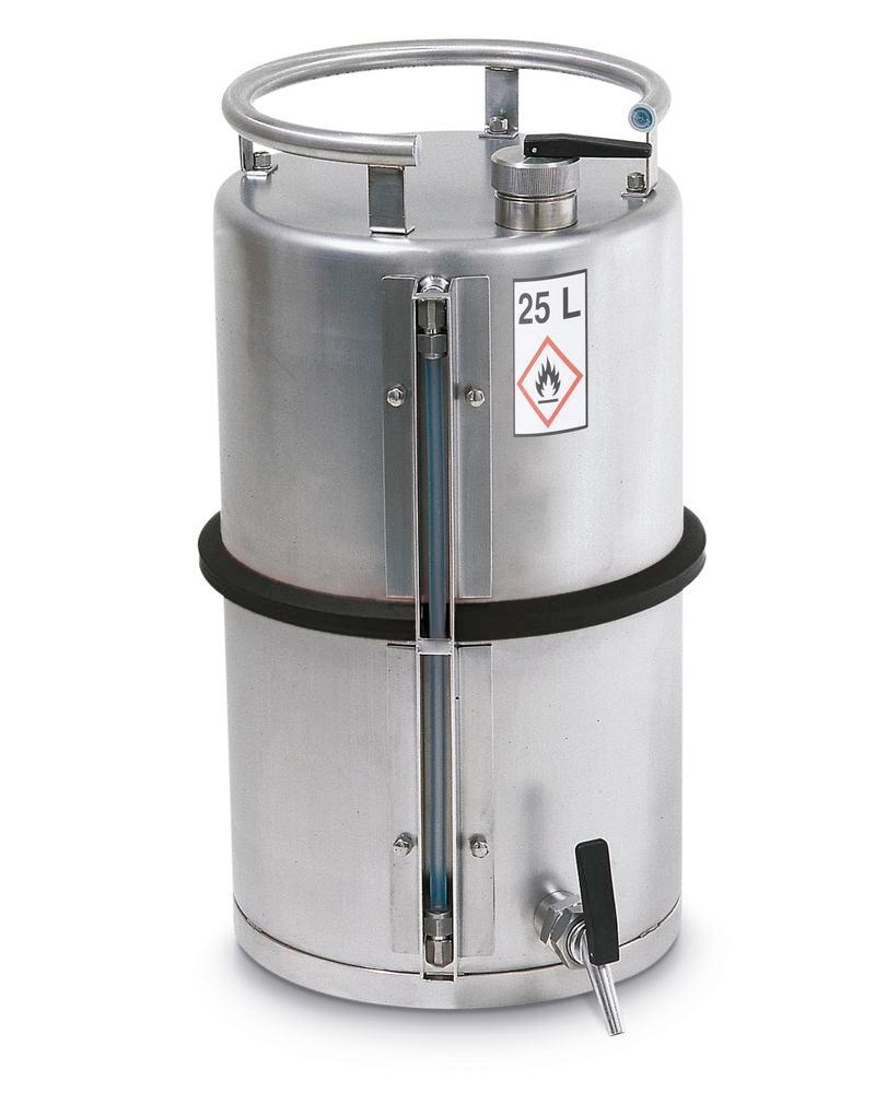 Stainless steel container with a filling level indicator, 25 ltr