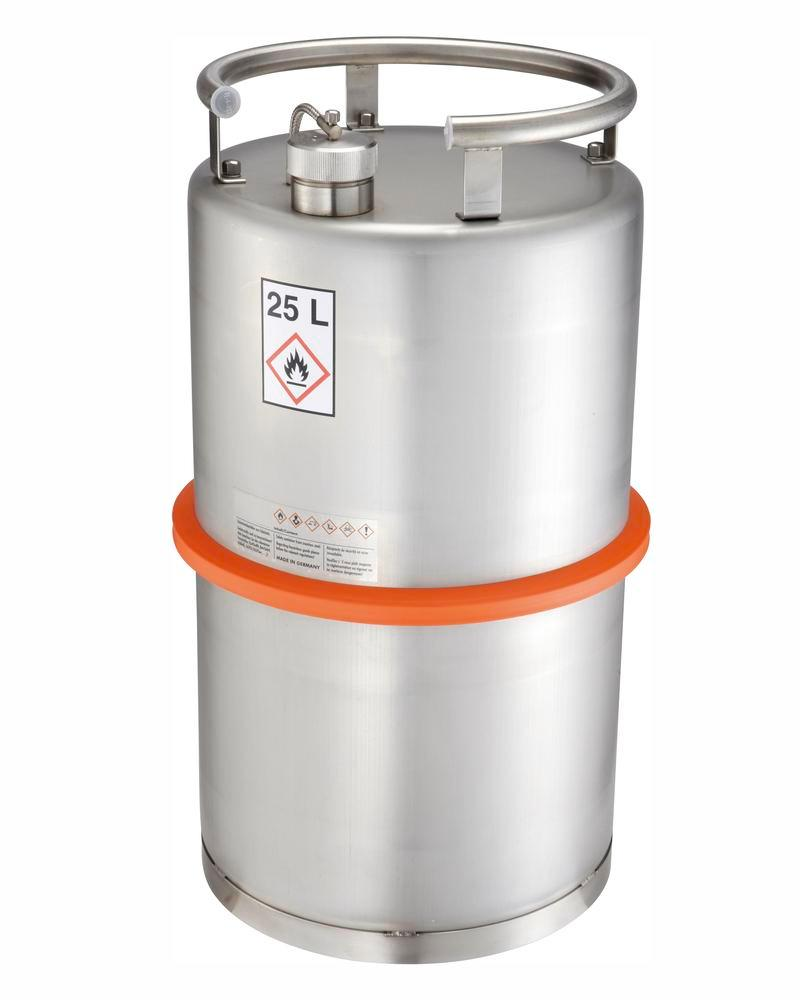 Stainless steel container with screw cap, 25 ltr