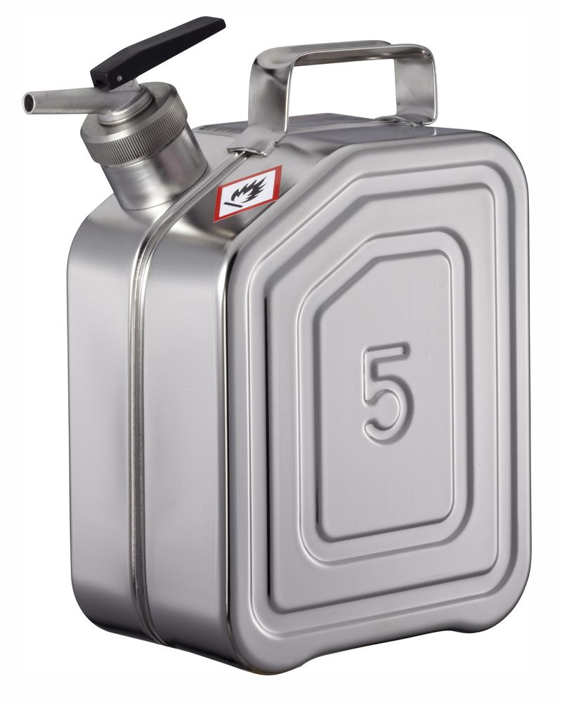 Stainless Steel Fuel Can, With Fine Measuring Tap, 5l