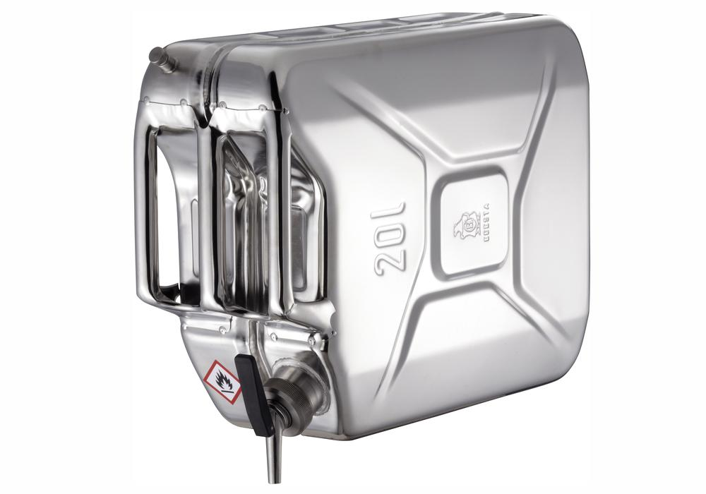 Stainless Steel Jerrican with tap and ventilation, 20 litre volume