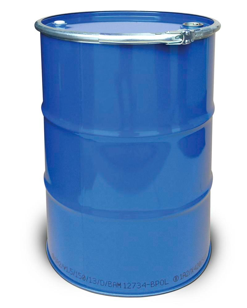 Steel lid drum, 212 litre capacity, interior unpainted, exterior painted, with 2 bungs, UN approved