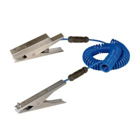 Earth cable with monitor funct, 2-core, 2 st. steel clips ATEX: 1x LED/battery,1x HD 235mm, 3m cable-w280px
