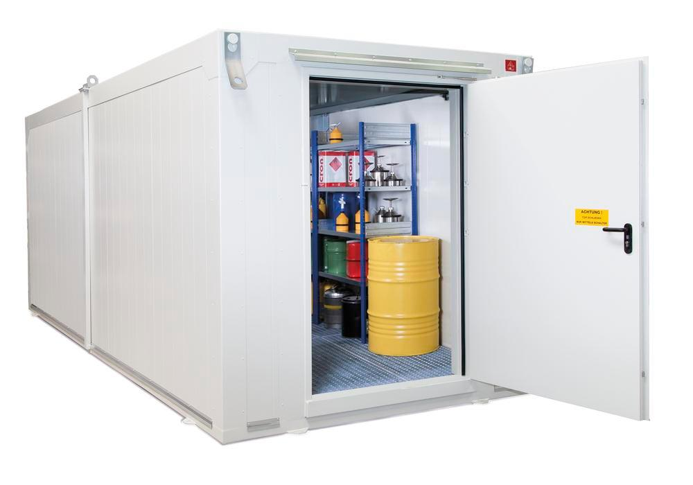 Fire protection container BMC-K 600 with 1 wing door T90 on the short side