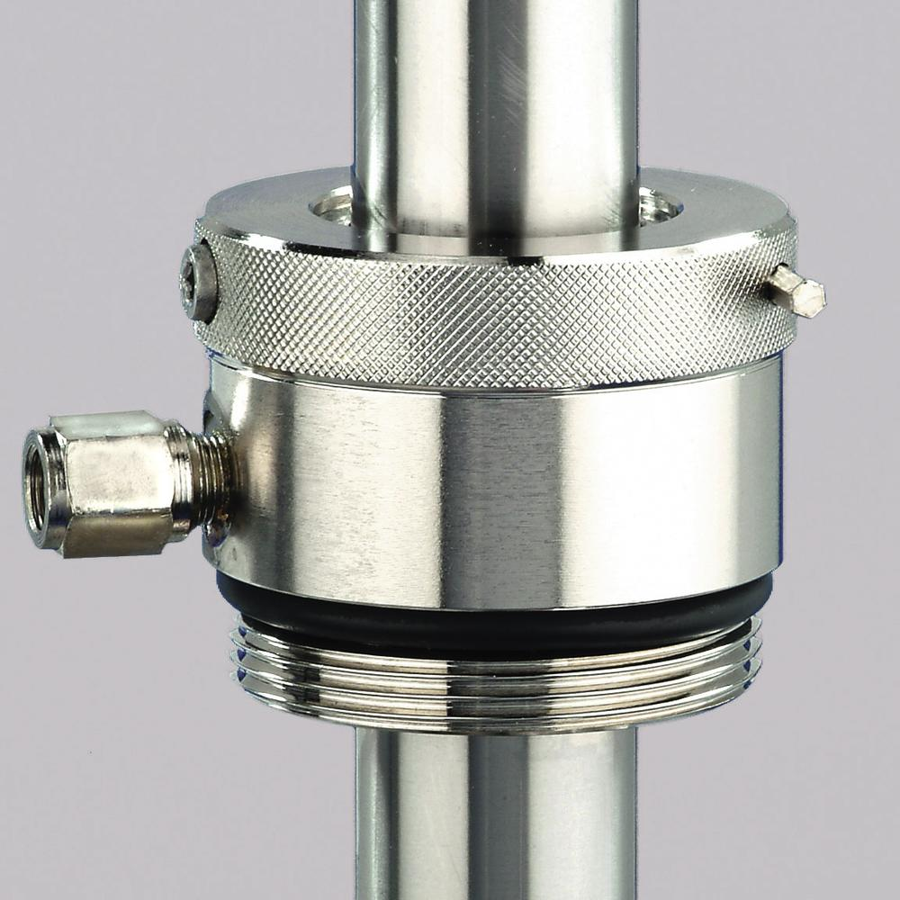 Gas-tight drum screw connection for stainless steel drum pumps - 1