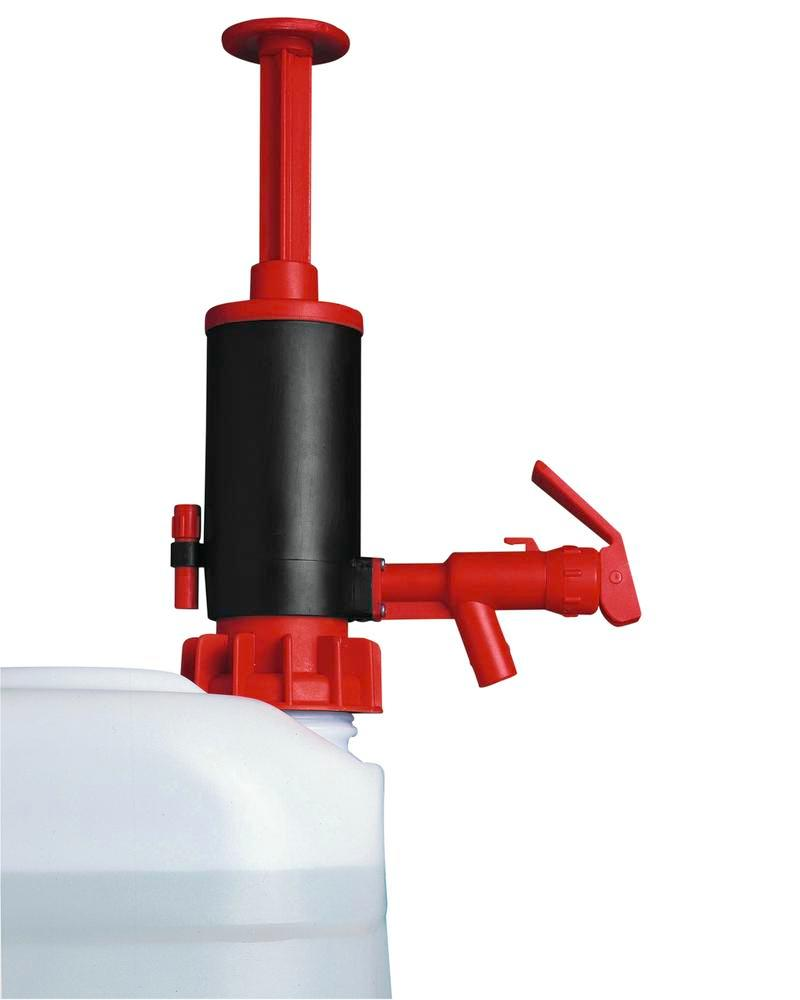 Manual dispensing and transfer pump, polypropylene, with EPDM seal, red