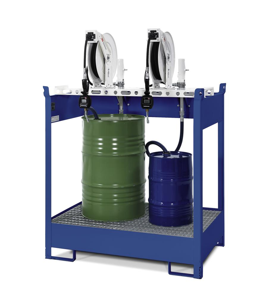 Oil dispensing station with spill pallet for 4 drums, 4 x compressed air pumps, hose reel 10m