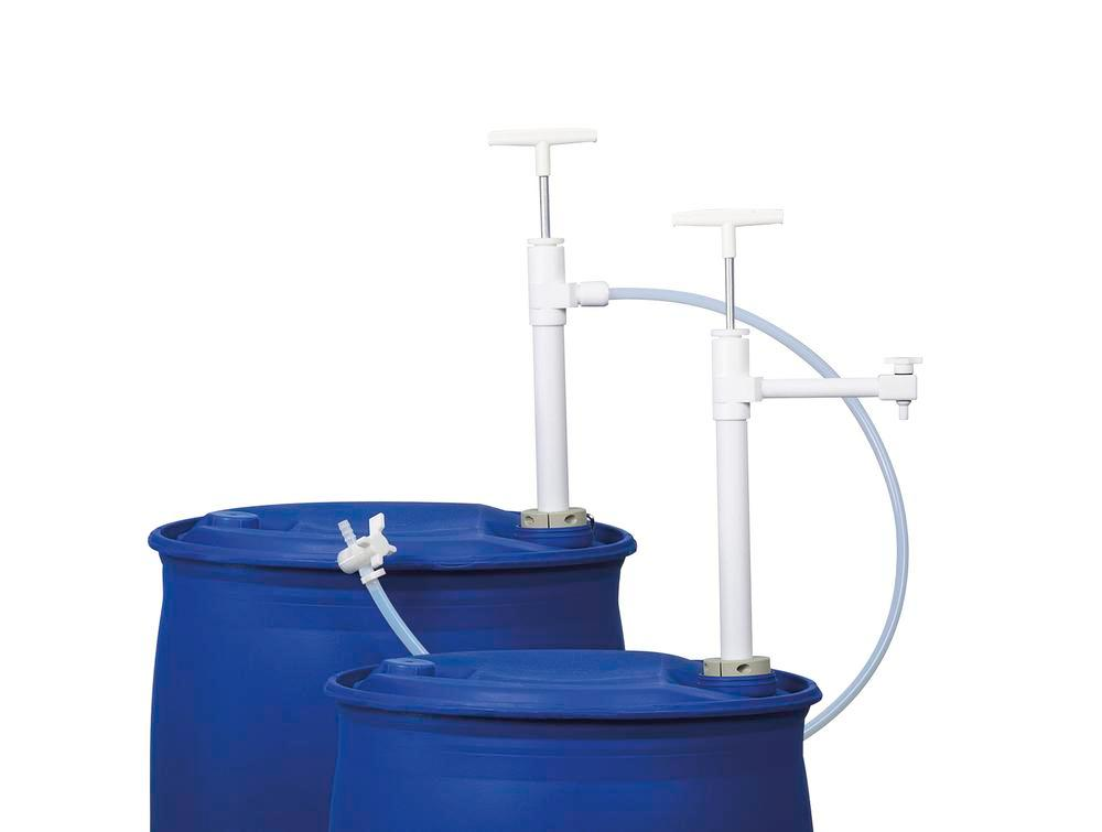 Ultra-pure drum pump and 1.2 m dispensing hose made of PTFE, with PVDF stop valve, immersion depth 6 - 1