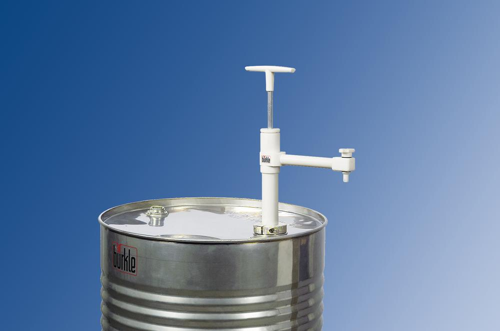 Ultra-pure drum pump with fixed spout and stop valve in PTFE, immersion depth 600 mm
