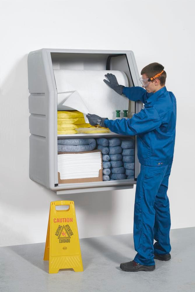 DENSORB Emergency Spill Kit in Safety Cabinet PE incl. Absorbent Roll, application SPECIAL
