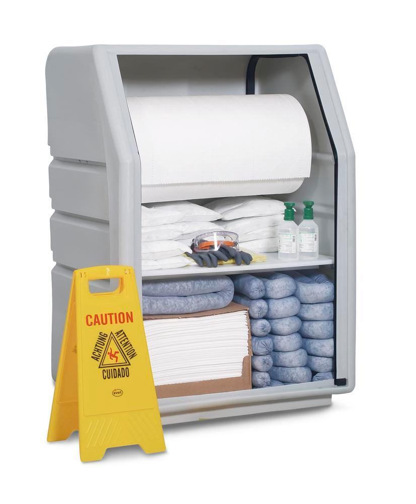 DENSORB Emergency Spill Kit in Safety Cabinet PE incl. Absorbent Roll, Oil