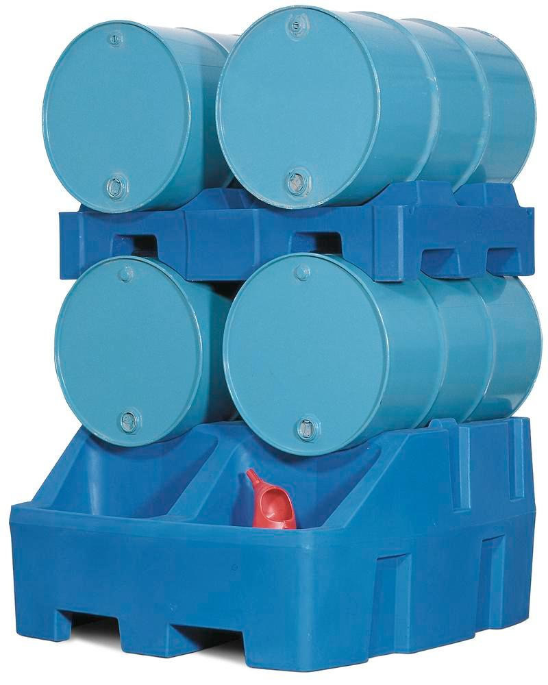 Dispensing station Model RS in polyethylene (PE), inc. drum pallet in PE, for 4 x 205 litre drums