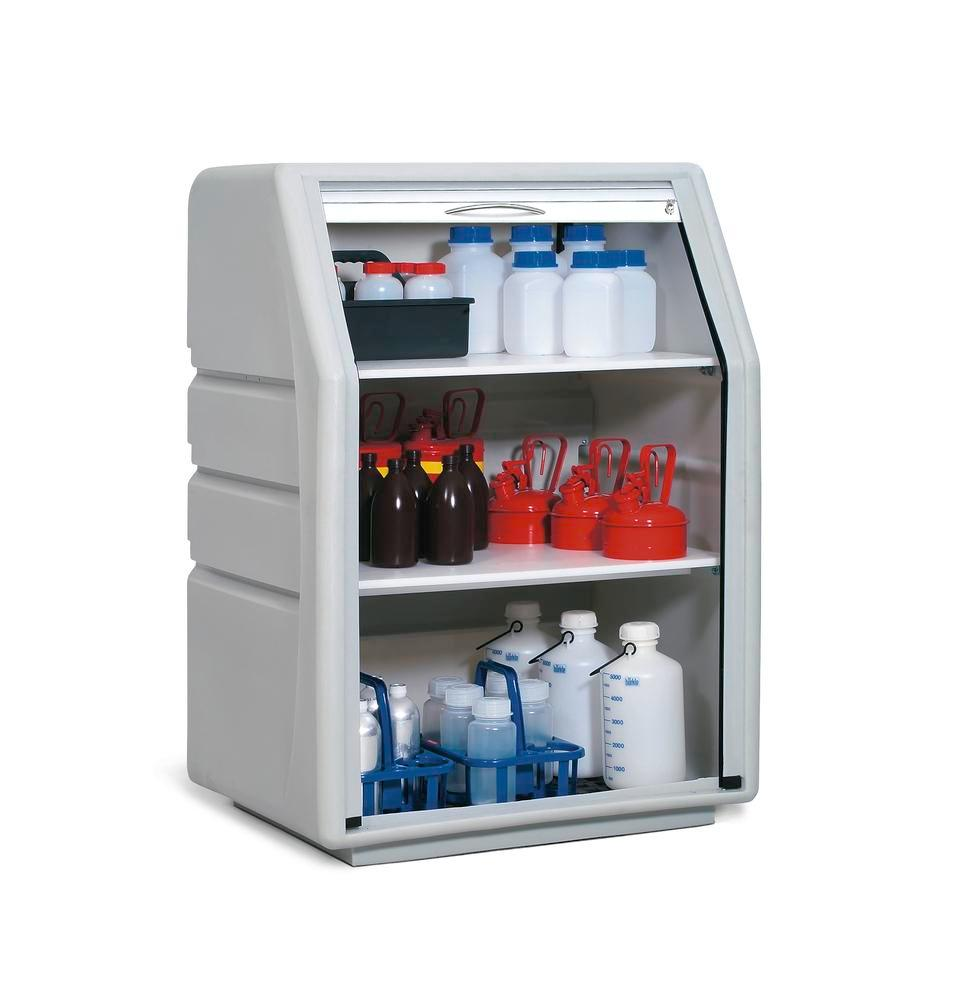 Oil / acid & alkali storage cabinet PolySafe PSR 8.8, polyethylene, with roller shutter door, grey