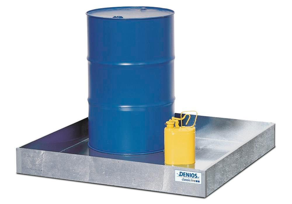 Spill pallet classic-line in steel for 1 drum, galvanised, no grid, 1240x1215x161