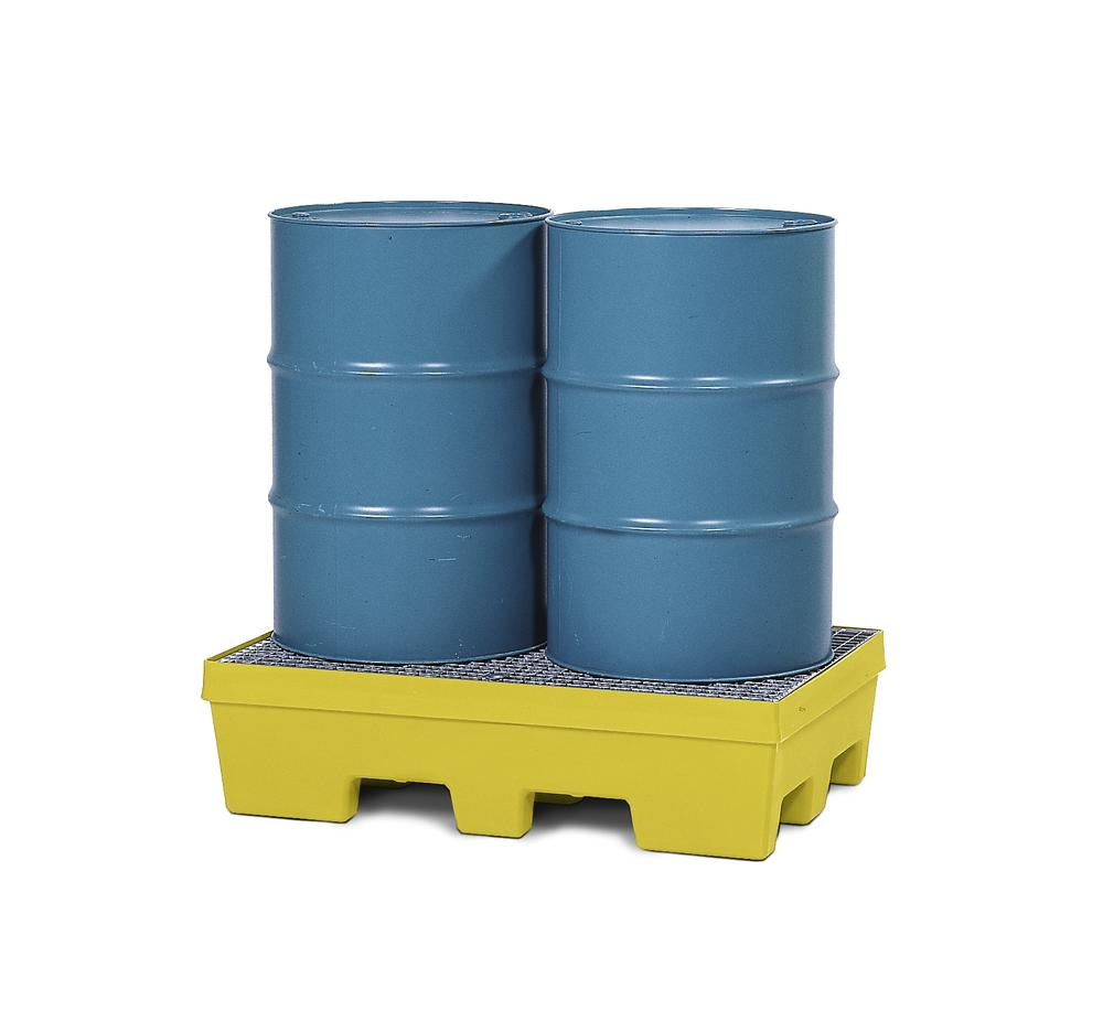 Spill pallet PolySafe PSP 2.2 in PE, yellow, forklift pockets and galv grid, for 2 x 205 litre drums