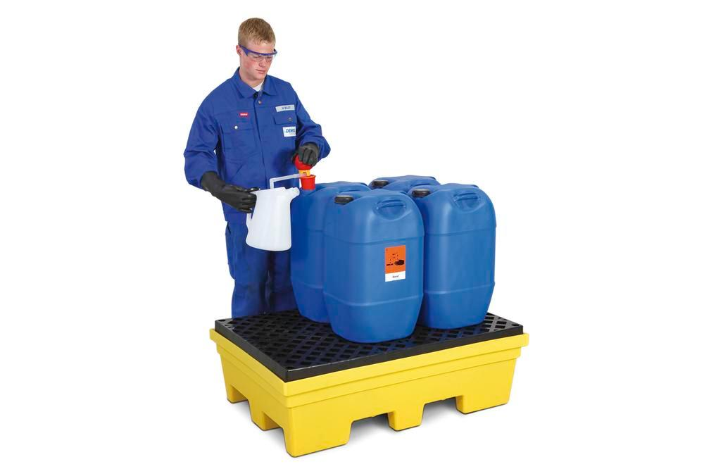 Spill pallet PolySafe PSP 2.2 in PE, yellow, forklift pockets and PE grid, for 2 x 205 litre drums