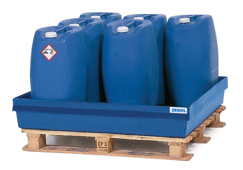 Spill pallet PolySafe PSW 2.4 in polyethylene, blue, without grid, for 1 x 205 litre drum