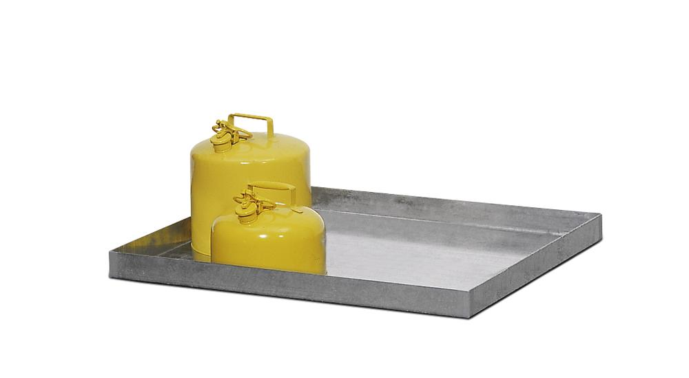 Spill tray GRW 13.6, galvanized steel, 40 litre capacity