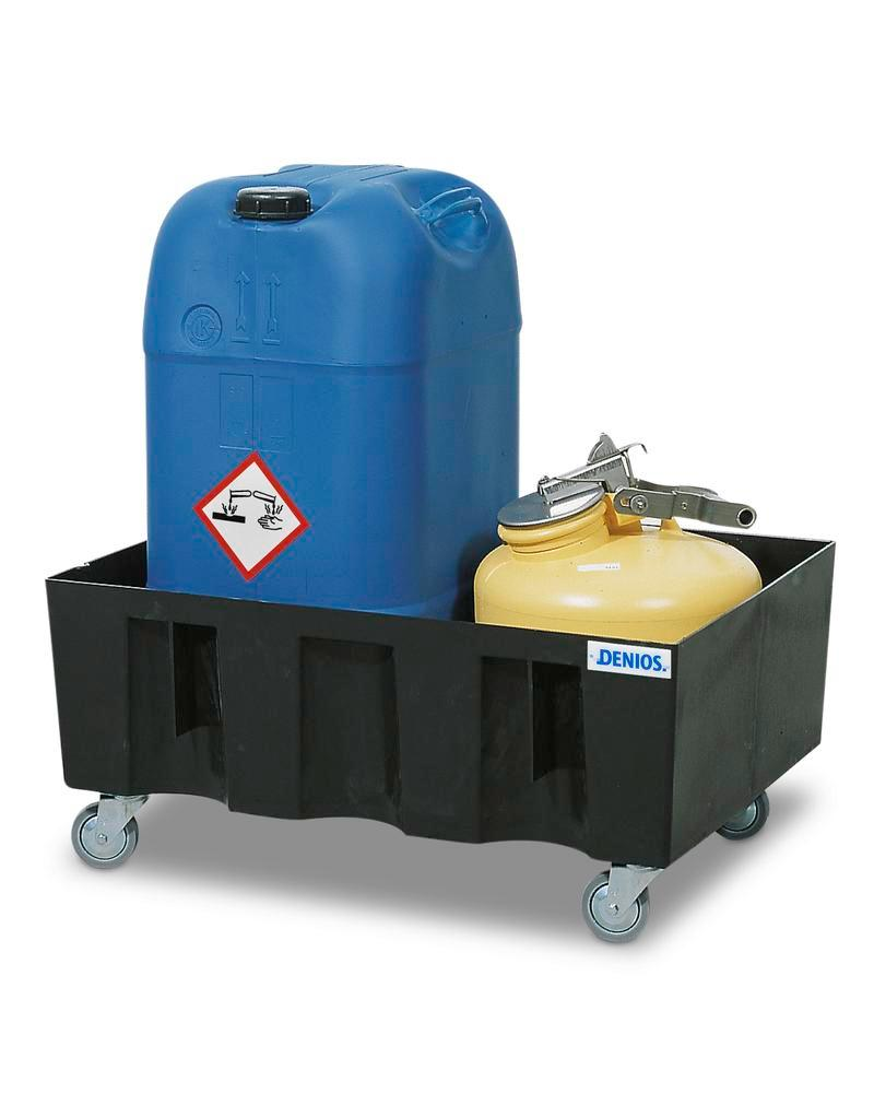 Sump pallet PolySafe Euro, polyethylene, with castors, for 2x60 litre containers, 60 litre