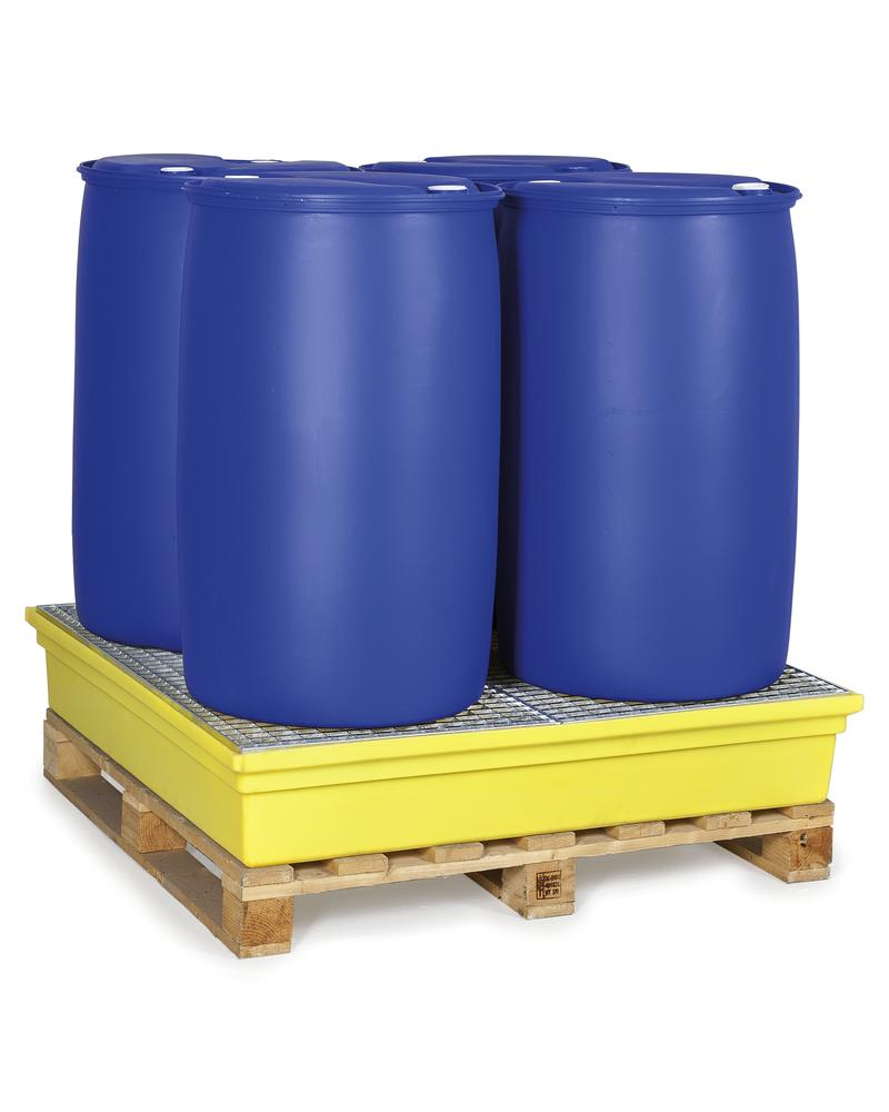 Sump pallet PolySafe PSW 2.4, polyethylene, with galvanized grid, 270 litre capacity, yellow