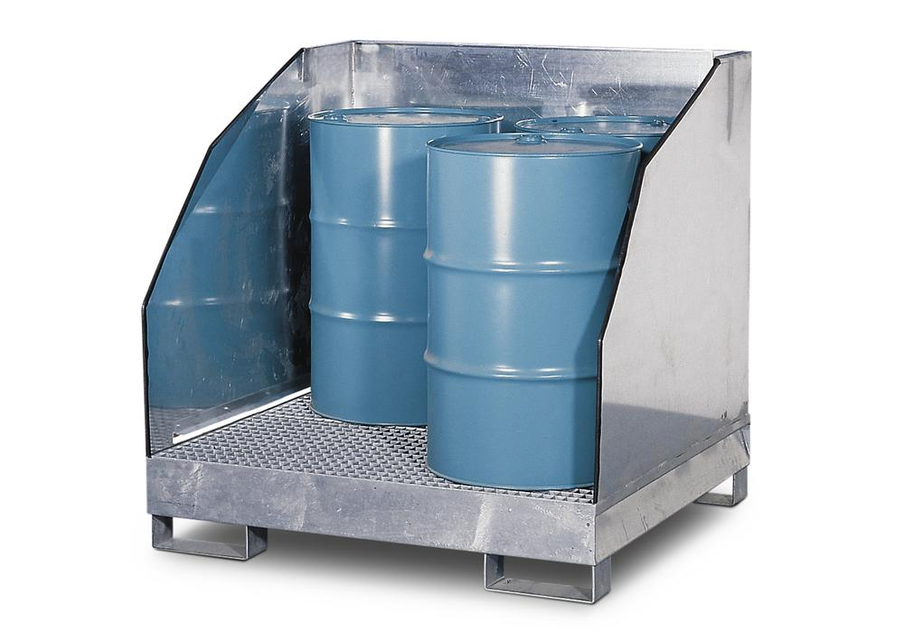 Sump pallet with 3 sides 4GST-K, galvanized steel, 3 sided spray protection, for 4 x 205 litre drums
