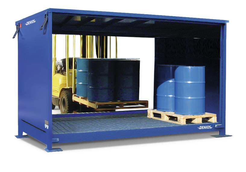 System container 1G 326.O with open front, for up to 20 x 205 litre drums, accessible from both side