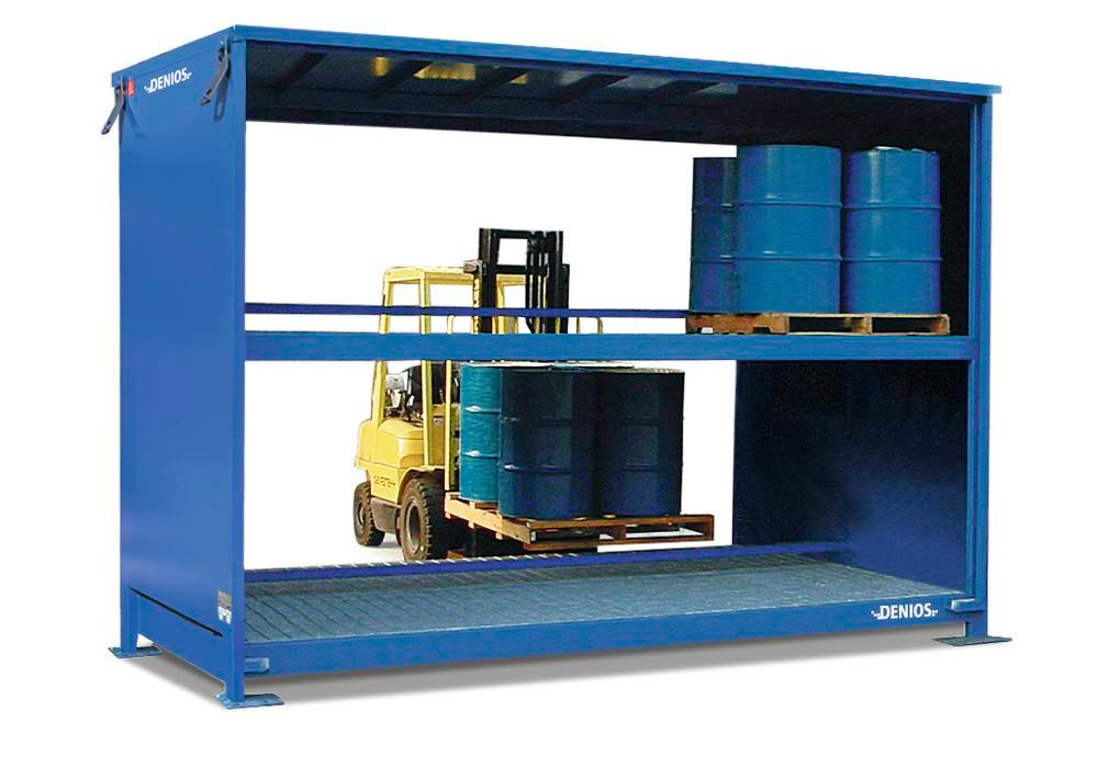 System container 2G 326.O with open front, for up to 40 x 205 litre drums, accessible from both side