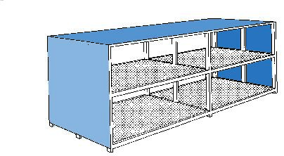 System container 2G 626.O with open front, for up to 80 x 205 litre drums, accessible from both side - 2