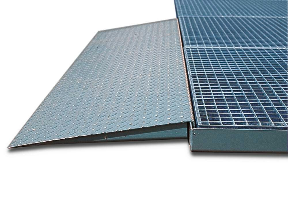 Access ramp in steel for spill decking classic-line, galvanised, 1320x720 - 1