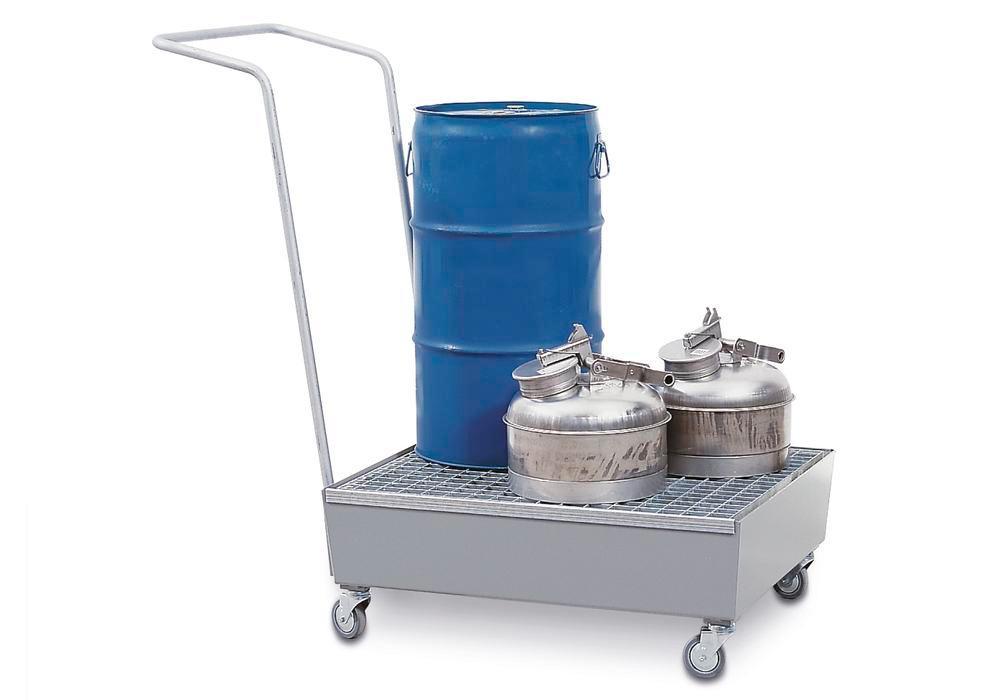 Bunded steel drum trolley, galvanized, polyamide wheels, for 2x60 litre drums, 60 litre capacity