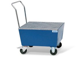 Bunded steel drum trolley, painted, anti-static wheels, for 1x205 litre drum, 225 litre capacity-w280px