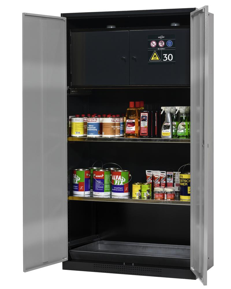 Chemicals cabinet Systema-Plus, anthracite, silver, with safety box and shelves, Type CS-30