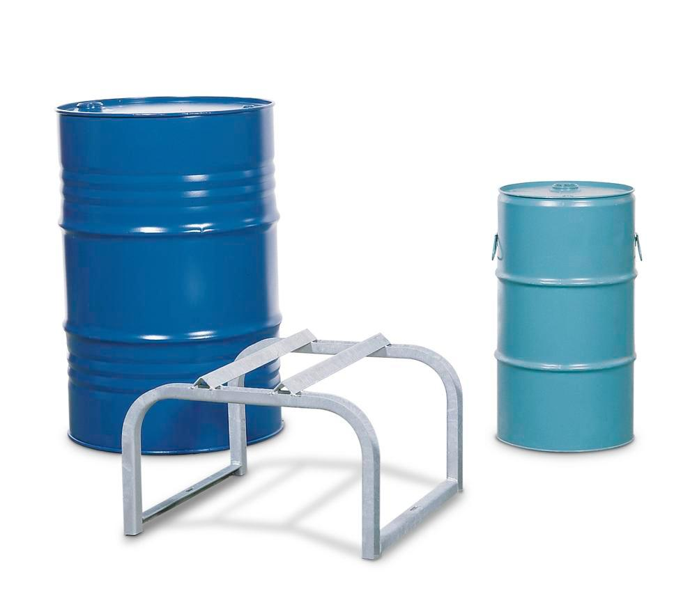 Drum mount FB 1, galvanized steel, for horizontal drum storage, for up to 1x205 litre drum - 1