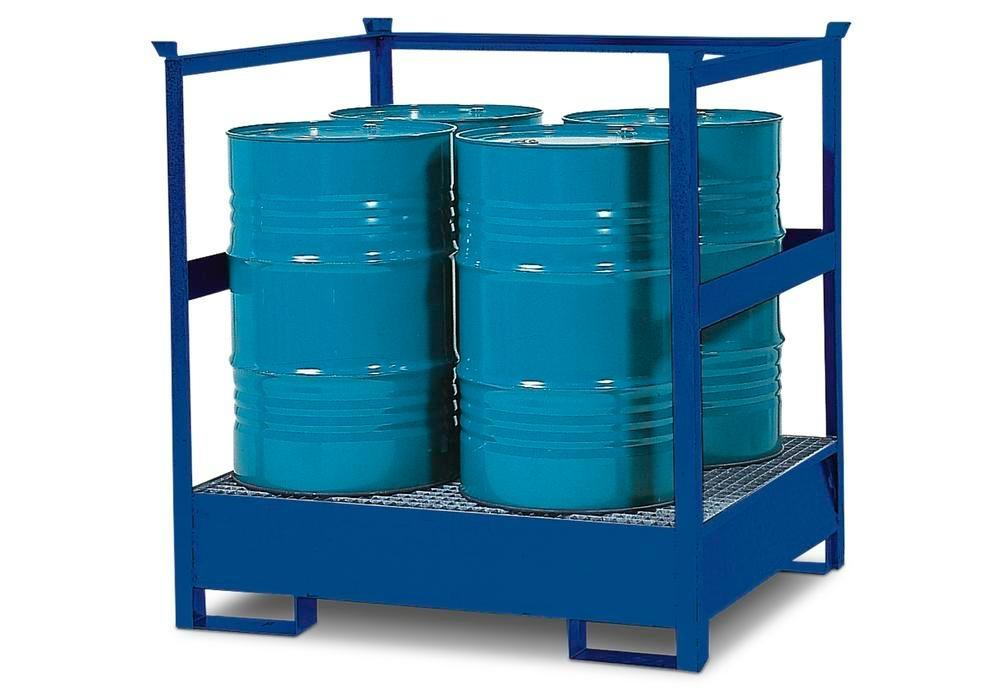 Drum storage unit 4 P2-R, painted steel, stackable, for 4x205 litre drums