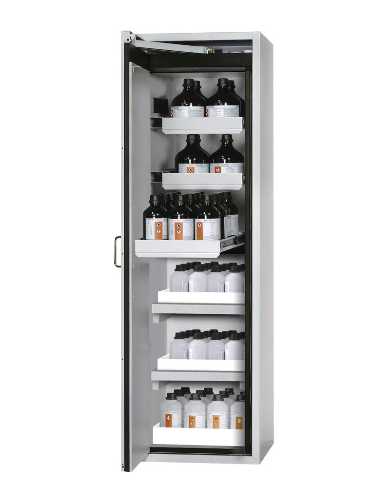 Fire rated hazmat cabinet Edition with slide out shelves, spill trays, floor spill pallet, grey