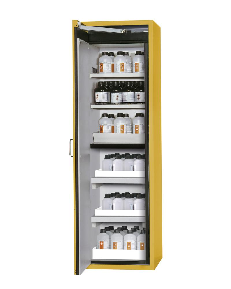 Fire rated hazmat cabinet Edition with trays and spill trays, floor spill pallet, yellow, Type 600-2