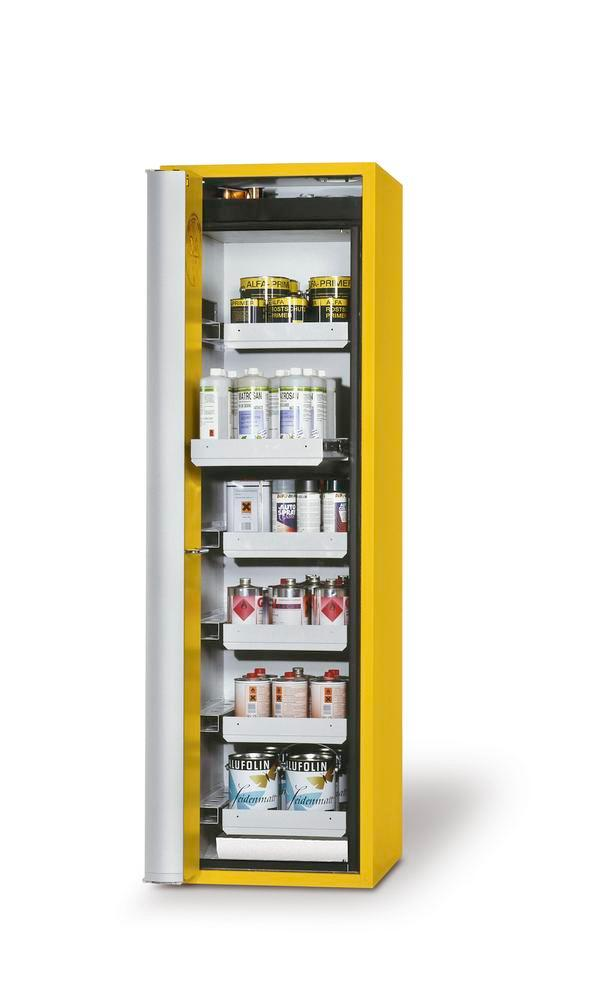 "Fire-rated HazMat cabinet GF-601.6 ""one touch"", 6 slide-out spill trays, door opens left, yellow"