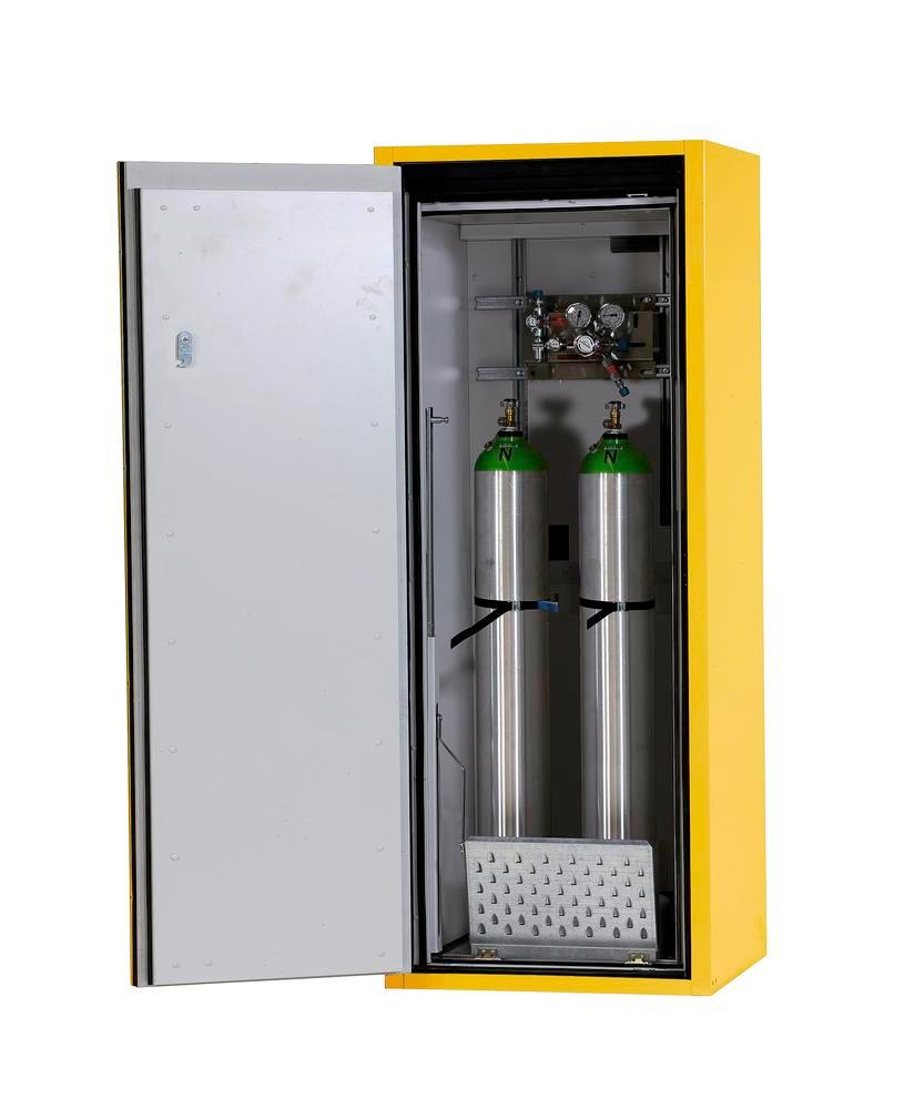 Fire-resistant gas cylinder cabinet G90.6-10, 600 mm wide, door opening right, yellow