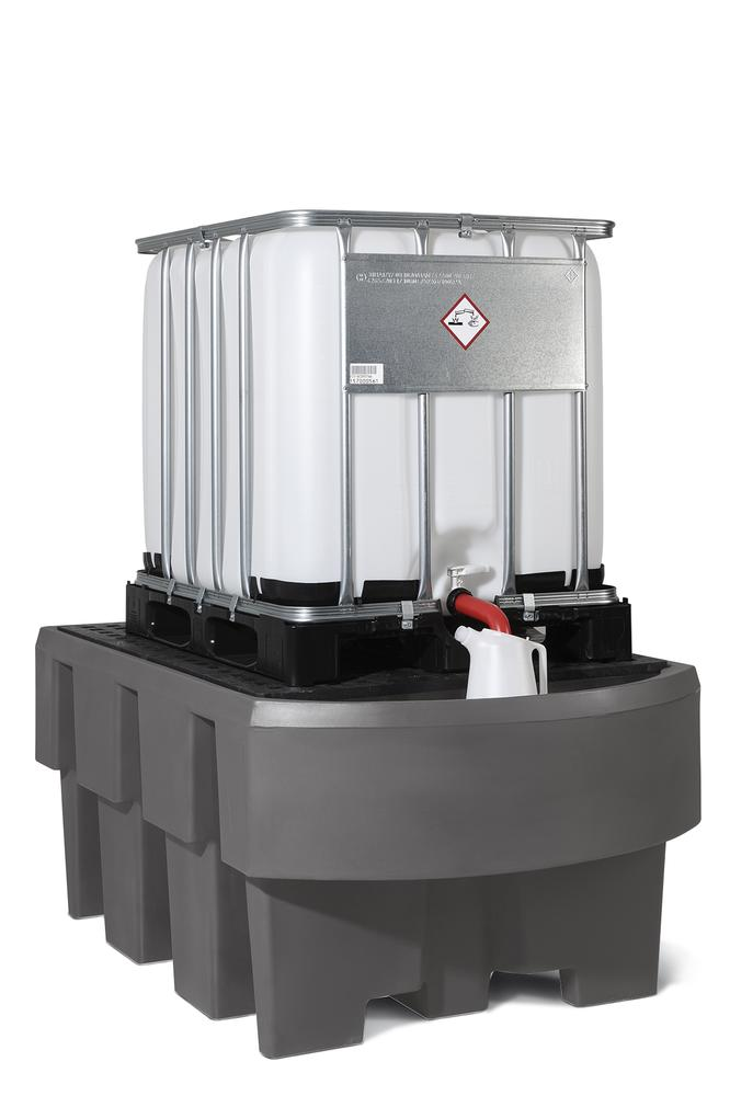 IBC sump pallet EURO-1R, polyethylene, with dispensing area, with PE storage base, for 1 IBC