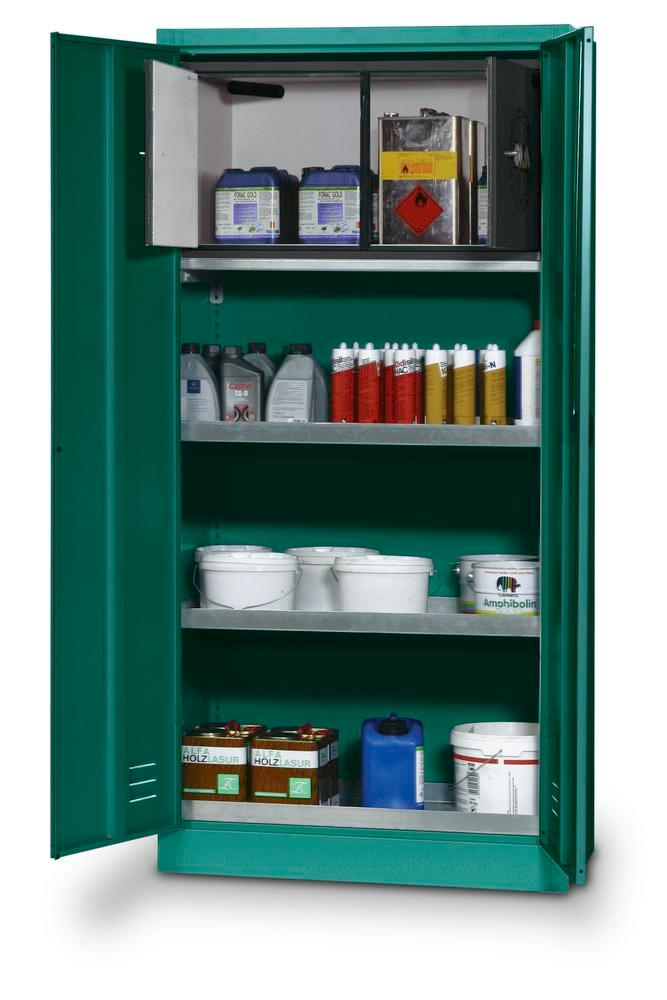 Pesticides storage cabinet PSM 19 with 1 spillage decking as per Stawa-R, 2 sump shelves and sa