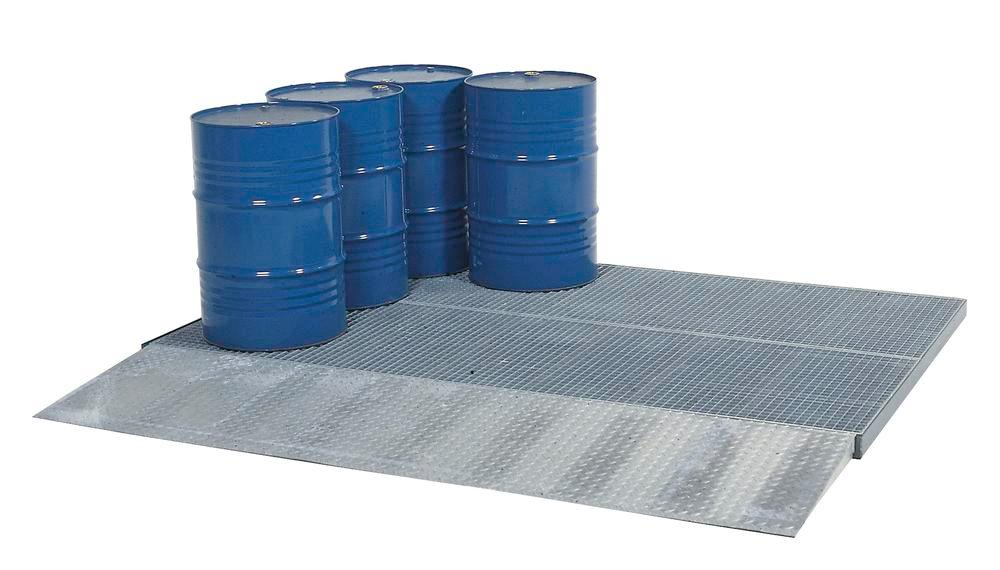 Spill decking classic-line, galvanised, with grid, wheel load 450 kg, 2862x1862x78