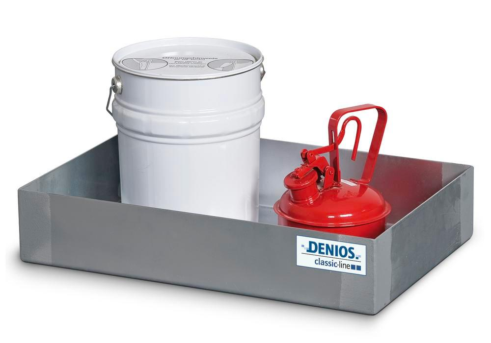 Spill tray for small containers classic-line in stainless steel, 20 litre, 310x545x145