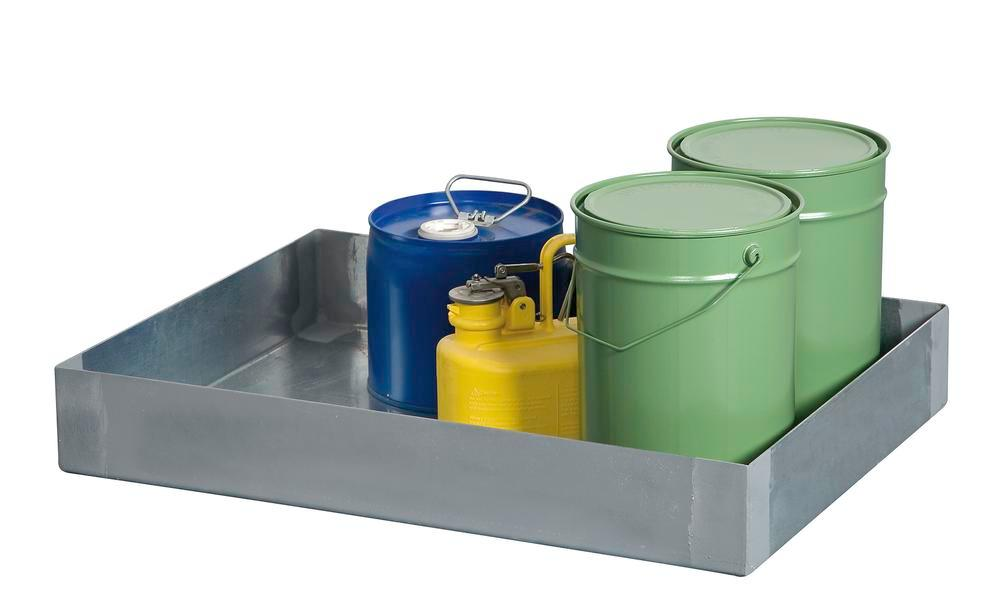 Spill tray for small containers classic-line in stainless steel, 30 litre, 310x845x145