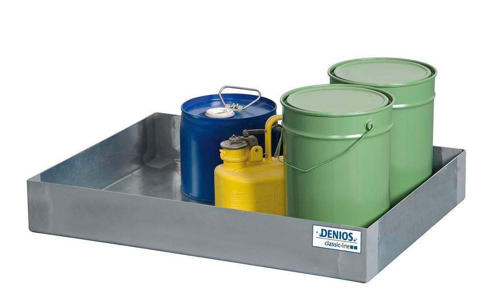 Spill tray for small containers classic-line in stainless steel, 62 litre, 510x1145x110