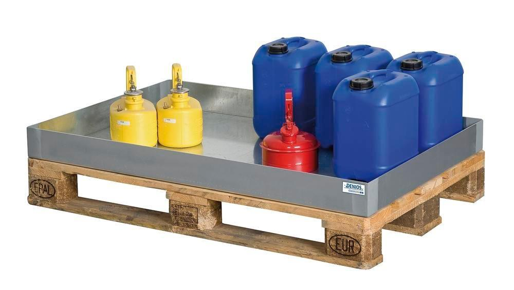 Spill tray for small containers classic-line in steel, galvanised, 60 litre, 766x1186x100
