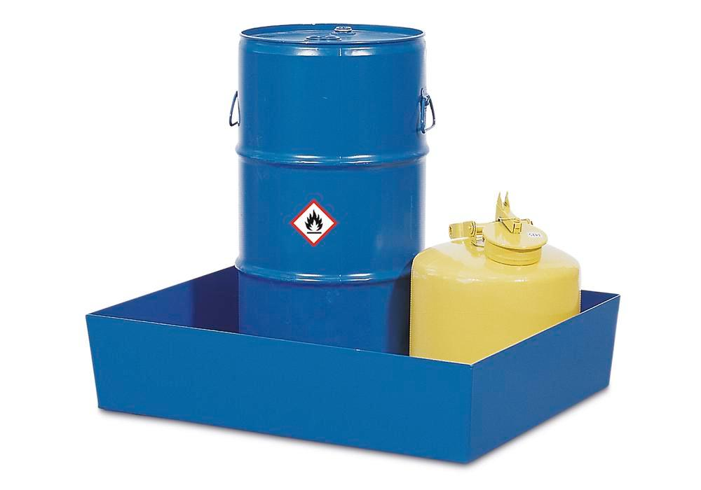 Sump pallet Basic K, painted steel, without feet and grid, for 1x60 litre drum, 60 litre capacity