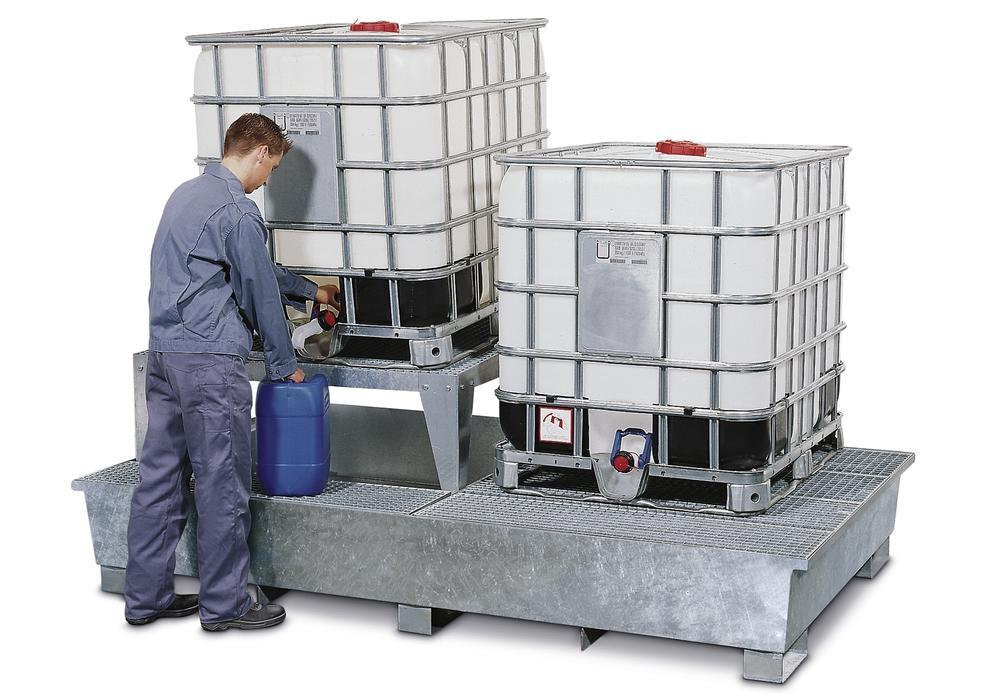 Sump pallet TC-2A, galvanized steel, with base feet and 1 drum mount, for 2 IBCs