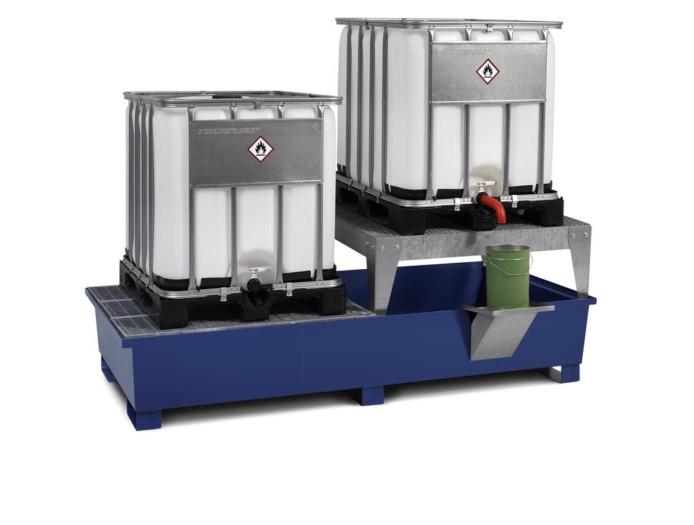 Sump pallet TC-2F made from steel, painted, with base feet and 1 drum mount, for 2 IBCs
