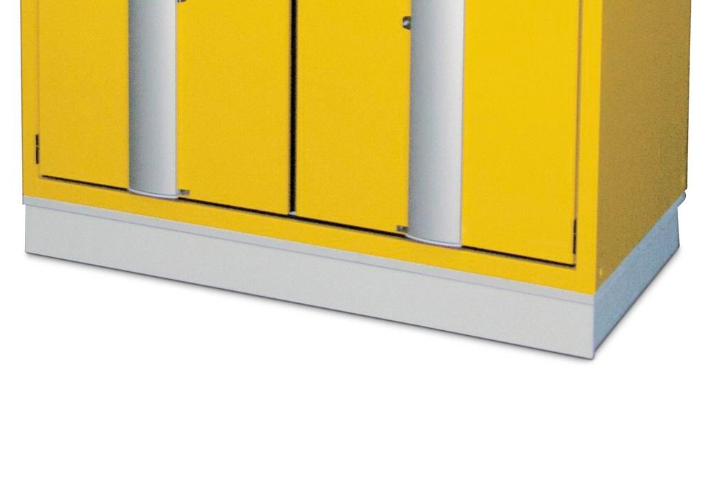 Transport base for hazardous material cabinets, 1200 mm wide
