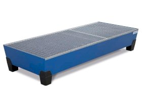 VarioTwin spill pallet, Type TW 203-L, painted, with grid, for 3 x 205 litre drums-w280px